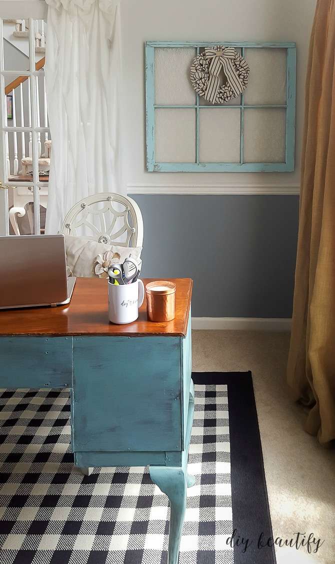 Wow, I turned my tiny dining room into a dedicated office and craft space full of farmhouse charm and clever storage! Come by diy beautify to see all the details!