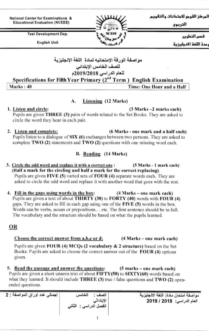 مواصفات الورقة الامتحانية لجميع المواد (ابتدائى - اعدادى - ثانوى) ترم ثانى 2019  FB_IMG_1554502735059