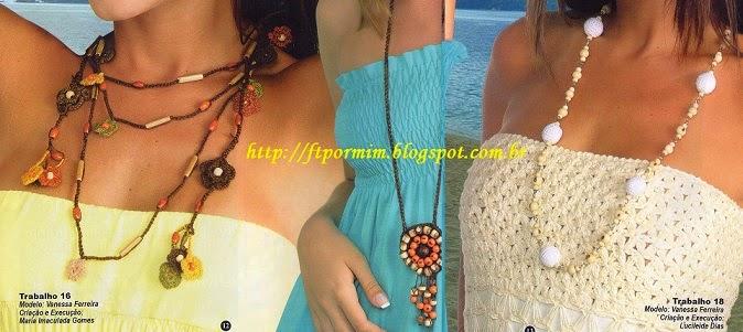 colares feitos de crochê