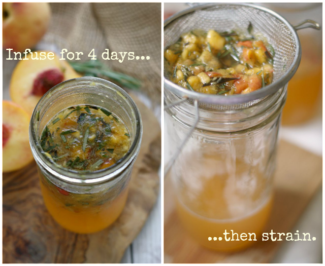 making Peach-Rosemary Shrub