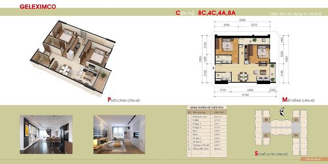 Mặt bằng căn hộ 4A, 4C, 8A, 8C chung cư Gemek Premium