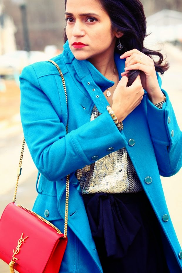 Top - Michael Kors, Skirt - Rachel Roy, Shoes - Dolce Vita, Bracelet - Crazy & Co.,  Coat - Kenneth Cole Tanvii.com