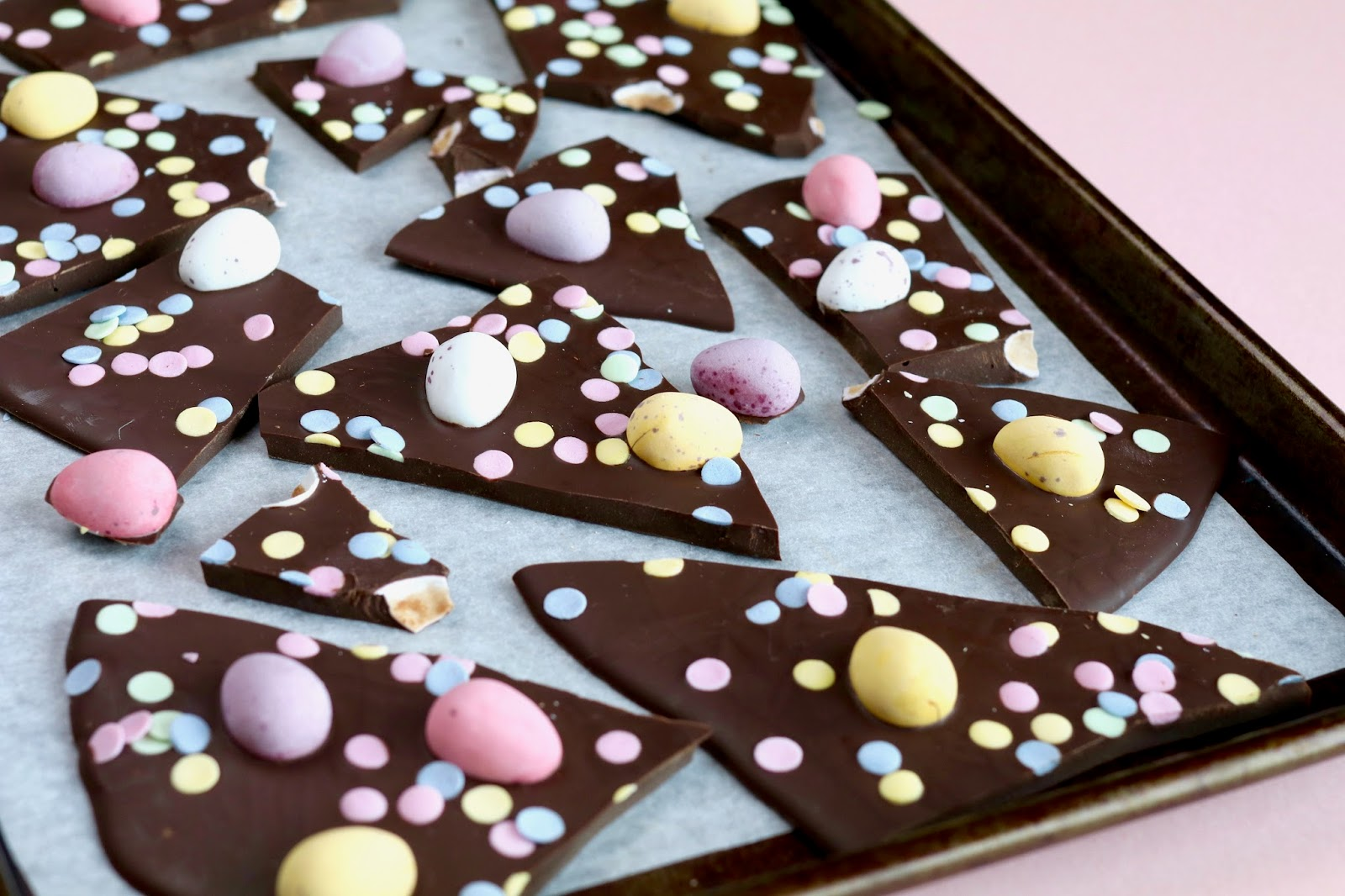 Easter treats chocolate bark with mini eggs and sprinkles