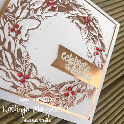 Stampin' Up! Season Wreath Dynamic Embossing Folder, Christmas Card, Embossing Folder, Reverse Embossing designed by Kathryn Mangelsdorf