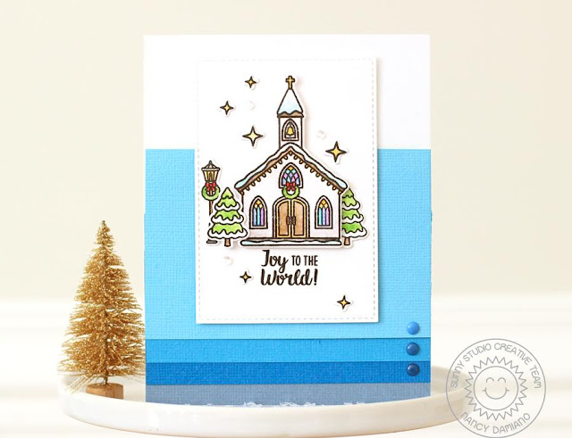 Sunny Studio Stamps: Christmas Chapel Ombre Background Christmas Card by Nancy Damiano