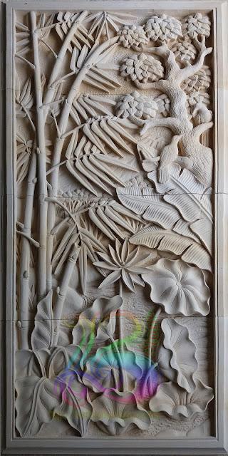 relief bambu lotus batu alam paras jogja