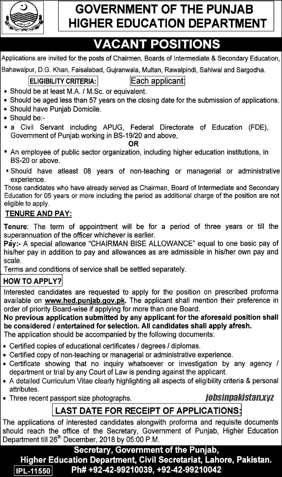 Advertisement for Higher Education Department Punjab Jobs 2018