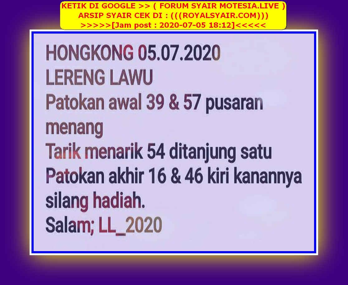 Kode syair Hongkong Minggu 5 Juli 2020 54