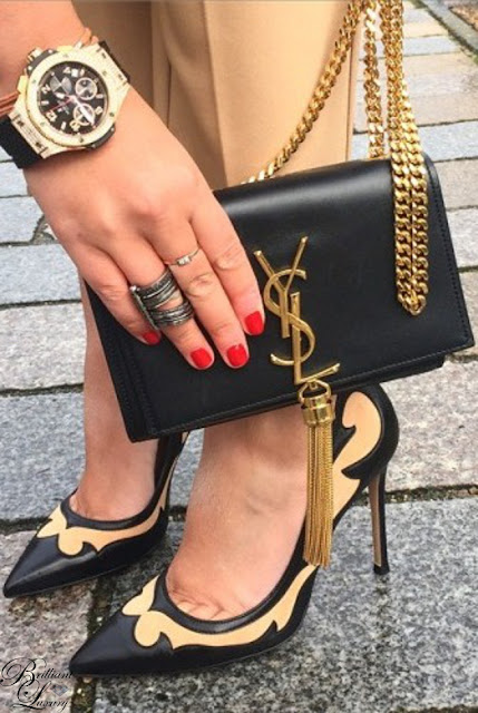 Brilliant Luxury ♦ perfect combination: Saint Laurent #bag #pumps #black #nude #ysl