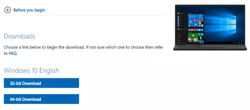 Download the Windows 10 32-bit and 64-bit ISO image