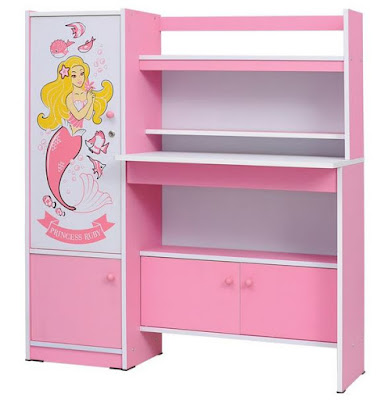 Gambar Meja Belajar Anak Pink Putri Duyung