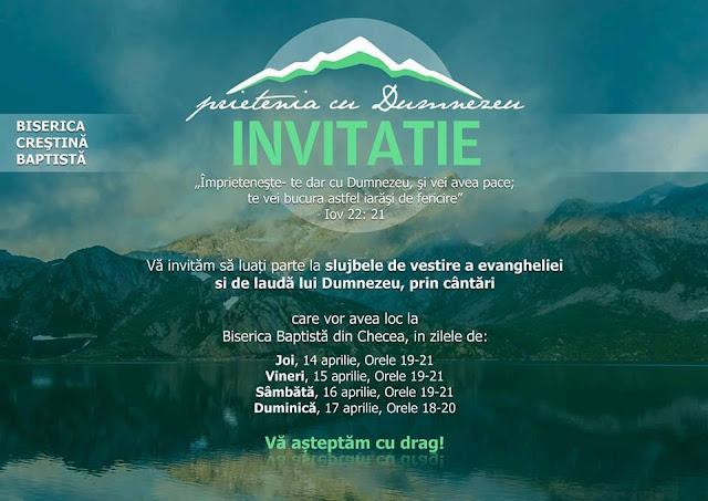 Evanghelizare la Biserica Baptistă din Checea (14-17 aprilie 2016)