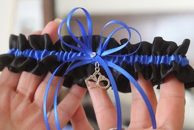 Thin Blue Line Wedding Garter by Sugarplum Garters