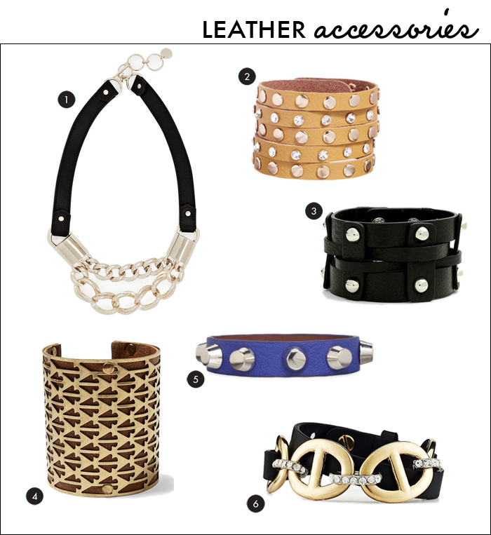 leather trend, fall accessories, leather bracelet, leather cuff, leather necklace, statement necklace, piperlime, express, ann taylor, french connection