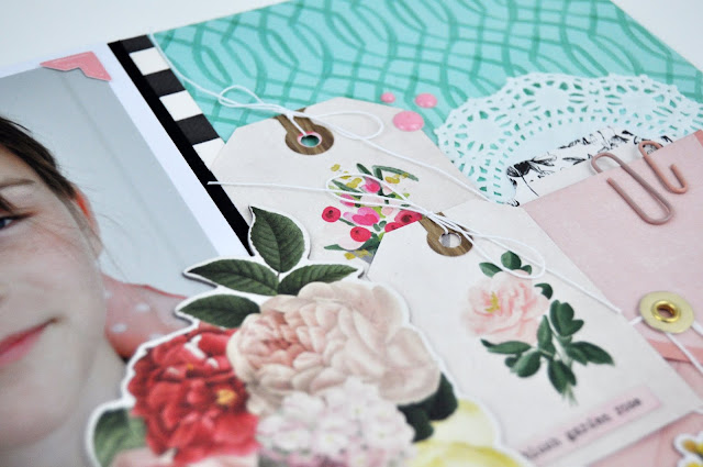 Scrapbooking Process Video #74: How to add a Large Embellishment to a Srapbooking layout with Jen Gallacher from www.jengallacher.com #scrapbooking #scrapbookprocess