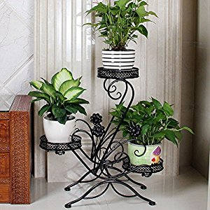 "AISHN 3-Tiered Scroll Classic Plant Stand Decorative Metal Garden Patio Standing Plant Flower Pot Rack Display Shelf Holds 3-Flower Pot with Modern ""S"" Design (Black)"