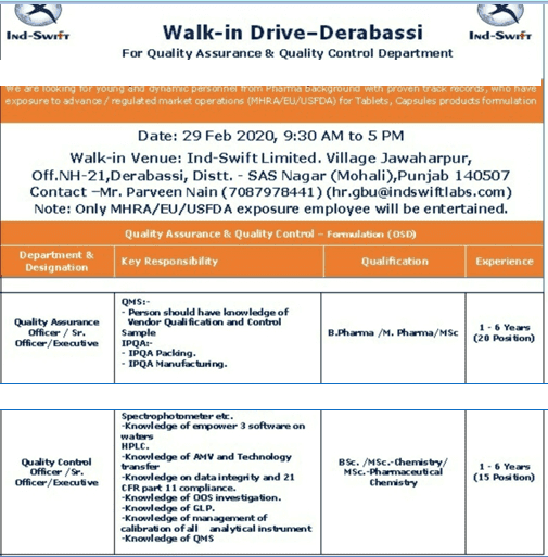 Ind-Swift - Walk in Interview for Quality Assurance & Quality Control on 29th Feb 2020