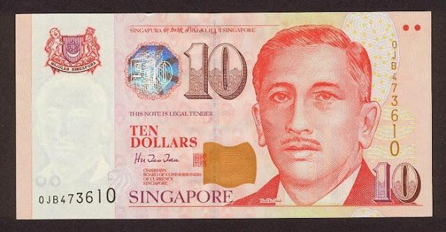Singapore 10 dollar note