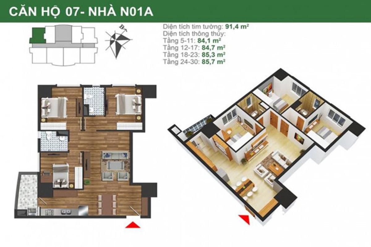 Mặt bằng căn hộ N01A