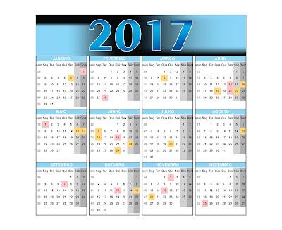 Calendário 2017 feriados e datas comemorativas