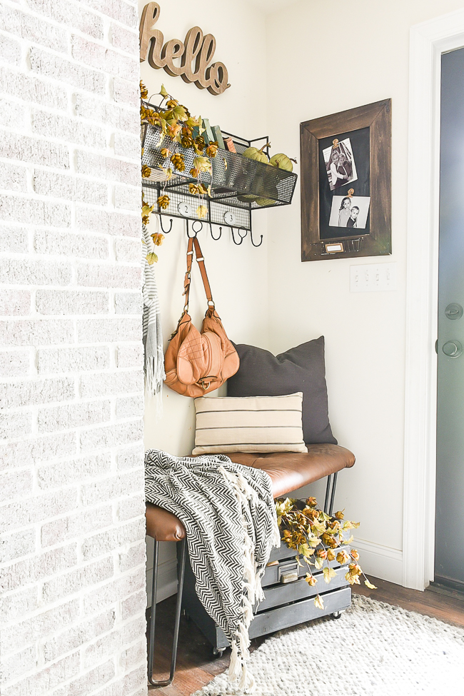 Neutral fall mudroom decor