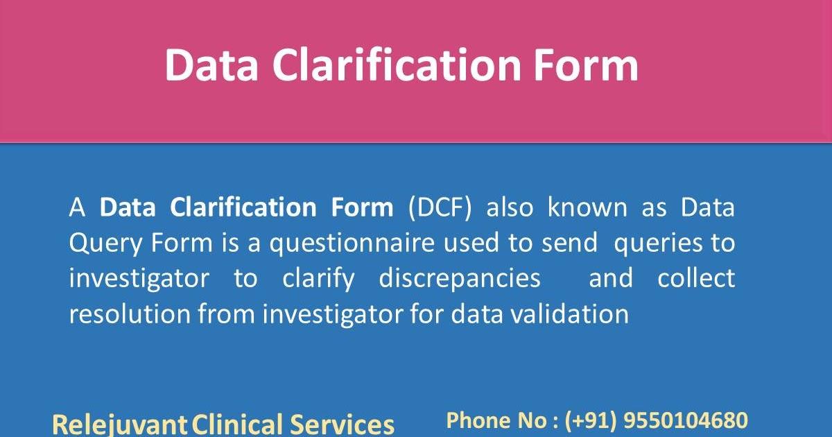 Data clarification form dcf relejuvant clinical services maxwellsz