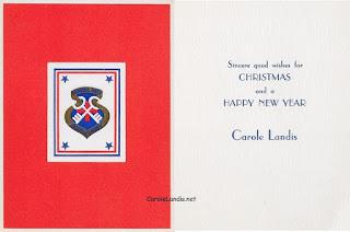 Carole Landis Christmas Card