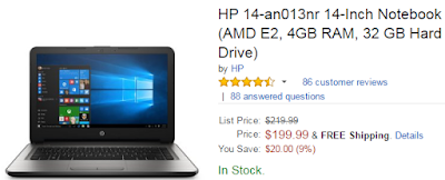 best cheap laptop deal under 200-HP 14-an013nr 14-Inch Notebook (AMD E2, 4GB RAM, 32 GB Hard Drive)