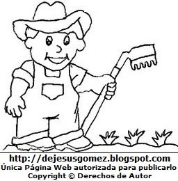 Dibujo de un campesino con su rastrillo para colorear, pintar e imprimir (Campesino sonriendo puesto su sombrero). Dibujo de un campesino de Jesus Gómez