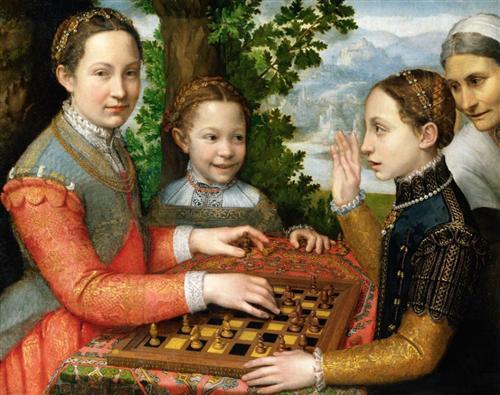 Sofonisba Anguissola Люсия, Минерва и Европа Ангвиссола играют в шахматы