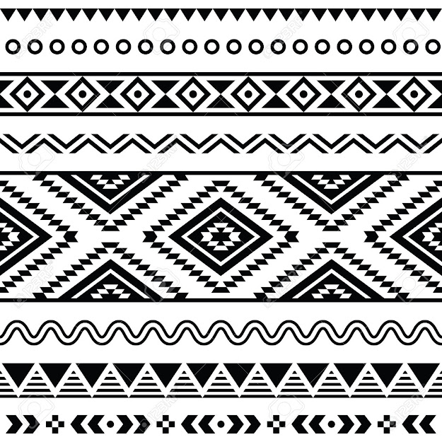 Tribal Seamless Pattern  Aztec Black Signs On White Background  Stock  Vector From The Largest Library Of Royaltyfree Images Only At  Shutterstock