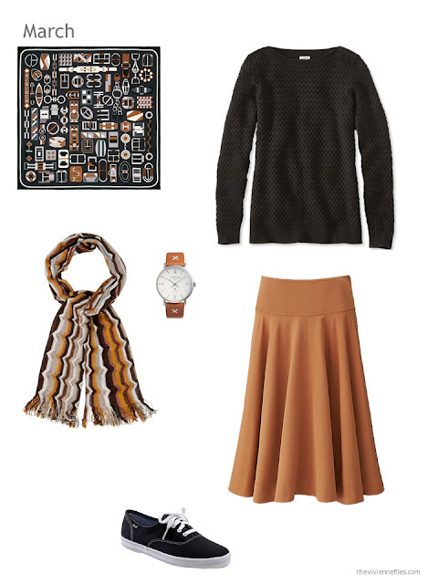 brown and black skirt outfit with scarf, watch and canvas shoes