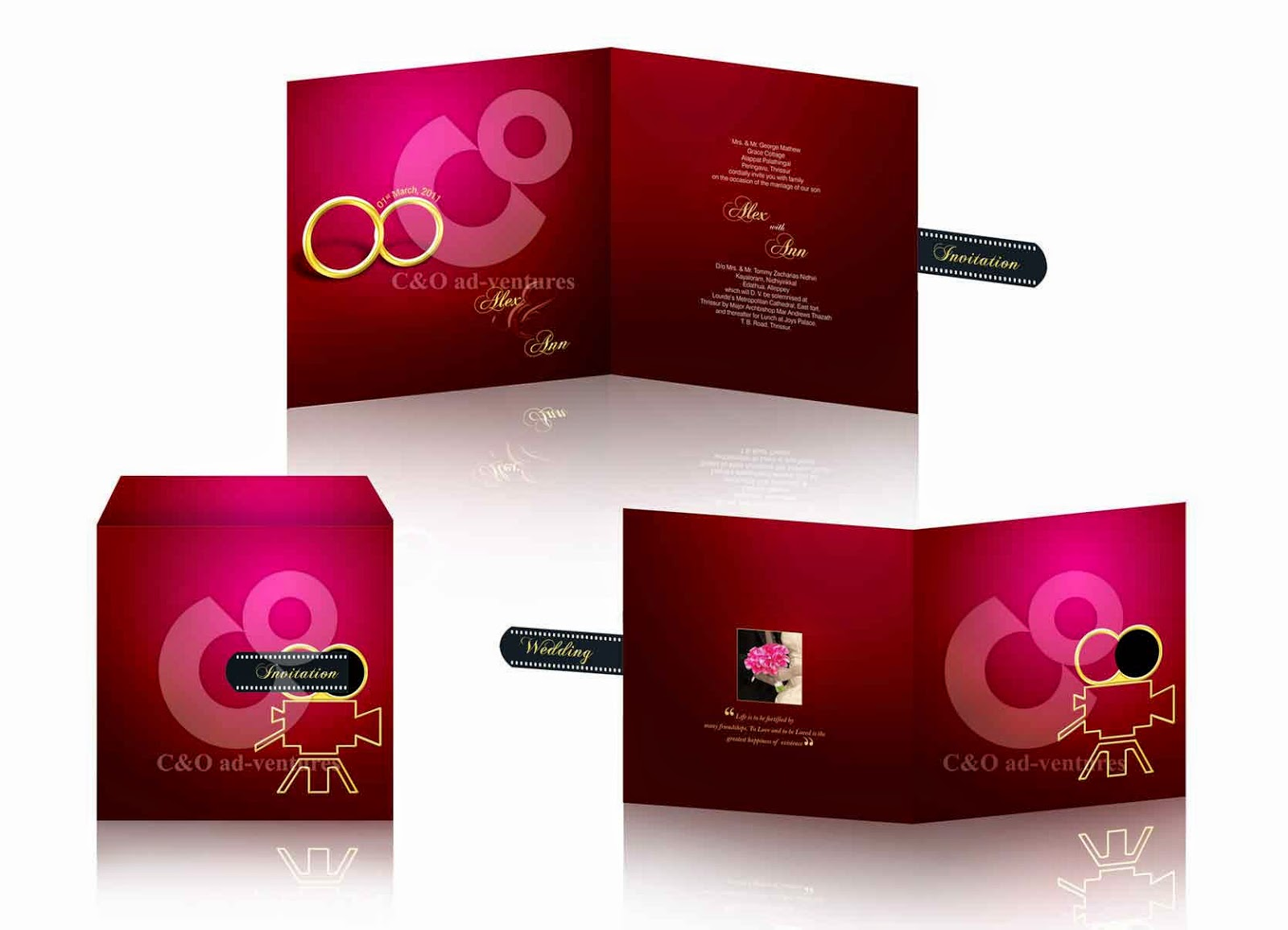 C O Ad Ventures Bollywood Theme Wedding Invitation Card Design