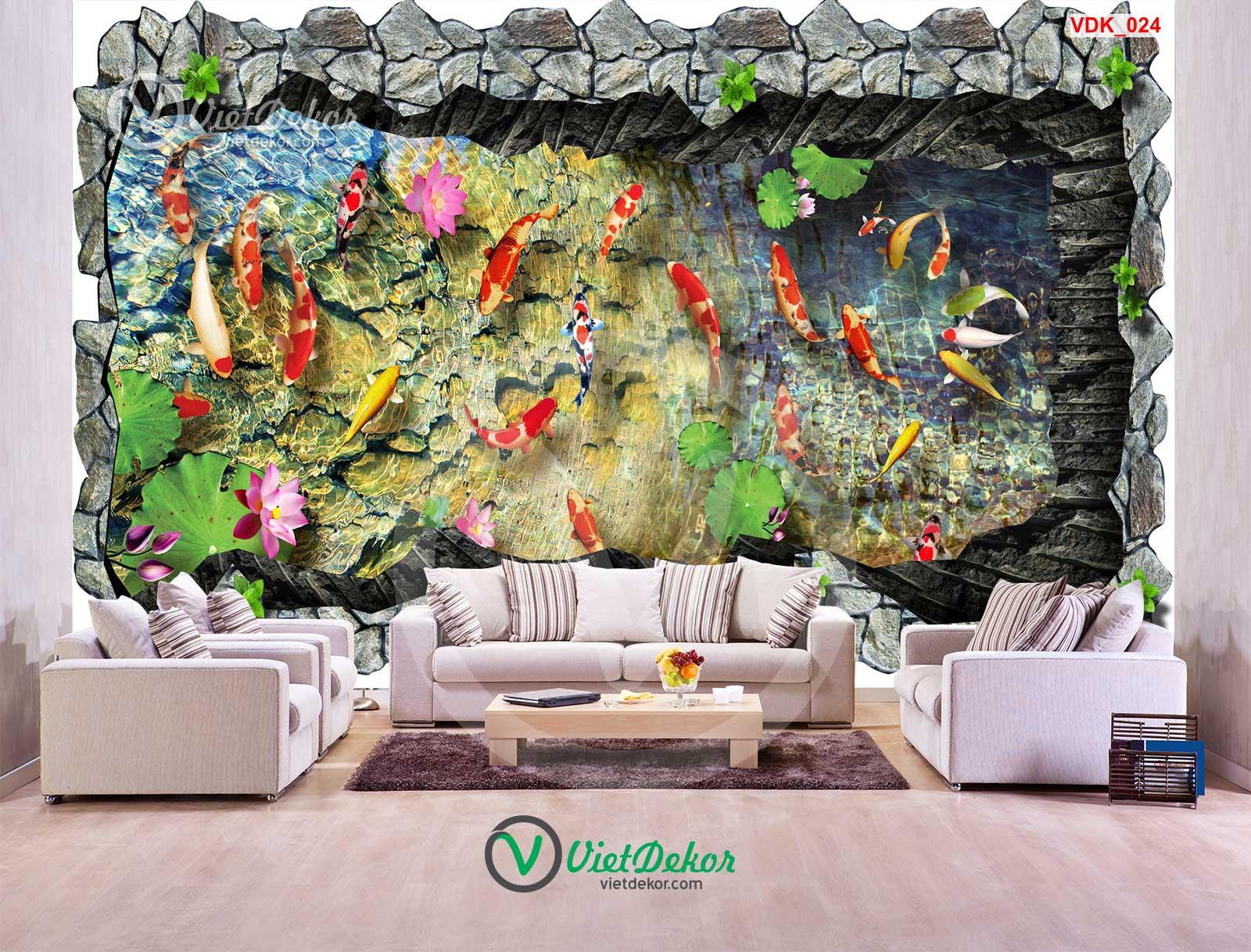 Tranh dán tường 3d bầy cá hoa sen
