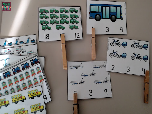 transportation- clip cards- counting- one to one correspondence