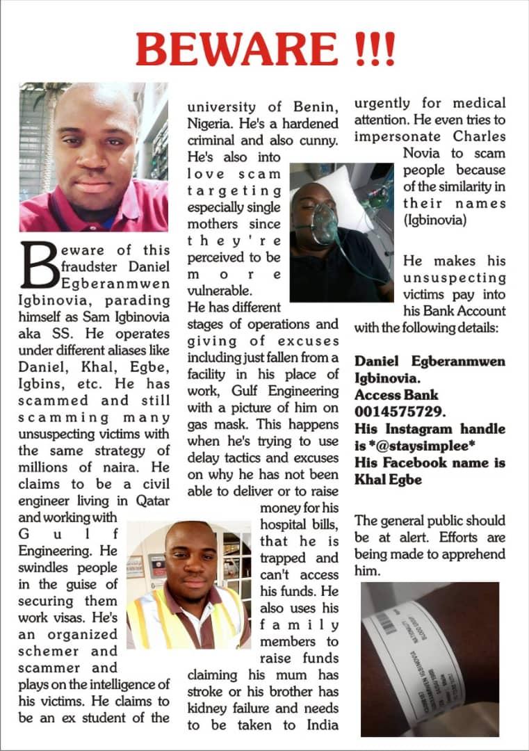 Stella Dimoko Korkus com: Scammer Alert On Nigerian Man Daniel