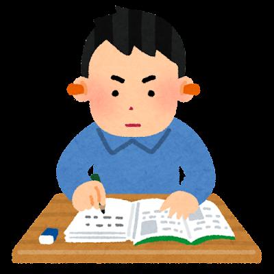 耳栓をして勉強をする人のイラスト(男性)