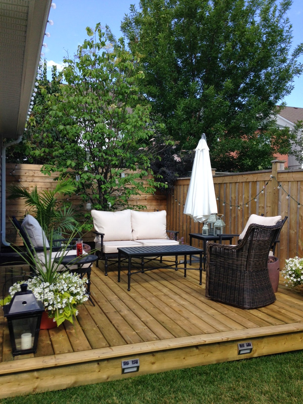 white wood thinking outside the box with outdoor deck placement