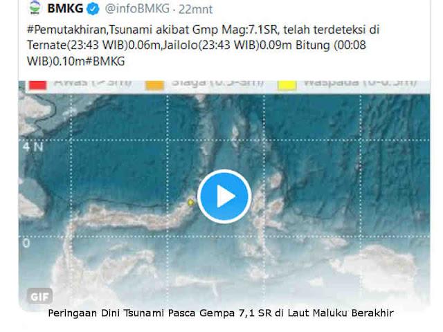 Peringaan Dini Tsunami Pasca Gempa 7,1 SR di Laut Maluku Berakhir