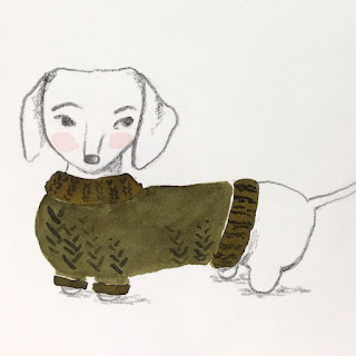 Dachshund in green sweater illustration in watercolor and pencil - by Amy Lamp