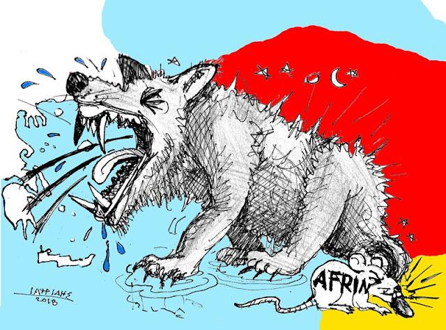 Ερντογάν ο λύκος είναι το θέμα της γελοιογραφίας του IaTriDis με αφορμή τις μάχες στο Αφρίν και τις προκλητικές δηλώσεις του προς την Ευρώπη και την Ελλάδα.