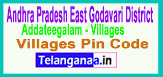 East Godavari District Addateegala Mandal and Villages Pin Codes in Andhra Pradesh State