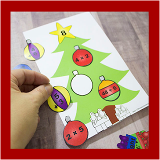 christmas tree math - addition, subtraction, multiplication, division
