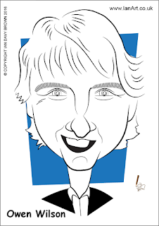 Owen Wilson caricature by Ian Davy Brown