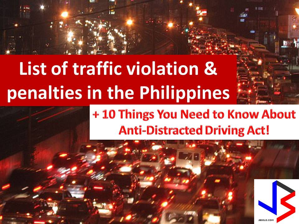 "In a case of apprehension due to a traffic violation, it is important that you know your offense and how much is your penalty according to law. It is because there are still ""kotong cops"" on the road that are ready to victimize you because of your ignorance.  The Department of Transportation and Communication together with the Land Transportation Franchising and Regulatory Board and the Land Transportation Office (LTO) has released a joint administrative order that revised and increased the fines and penalties in the traffic violation in the Philippines."