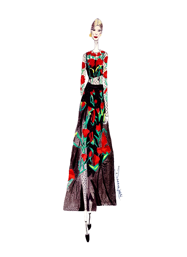 dolce and gabbana,Illustration,dheera joshi illustration,ready to wear ,spring 2015
