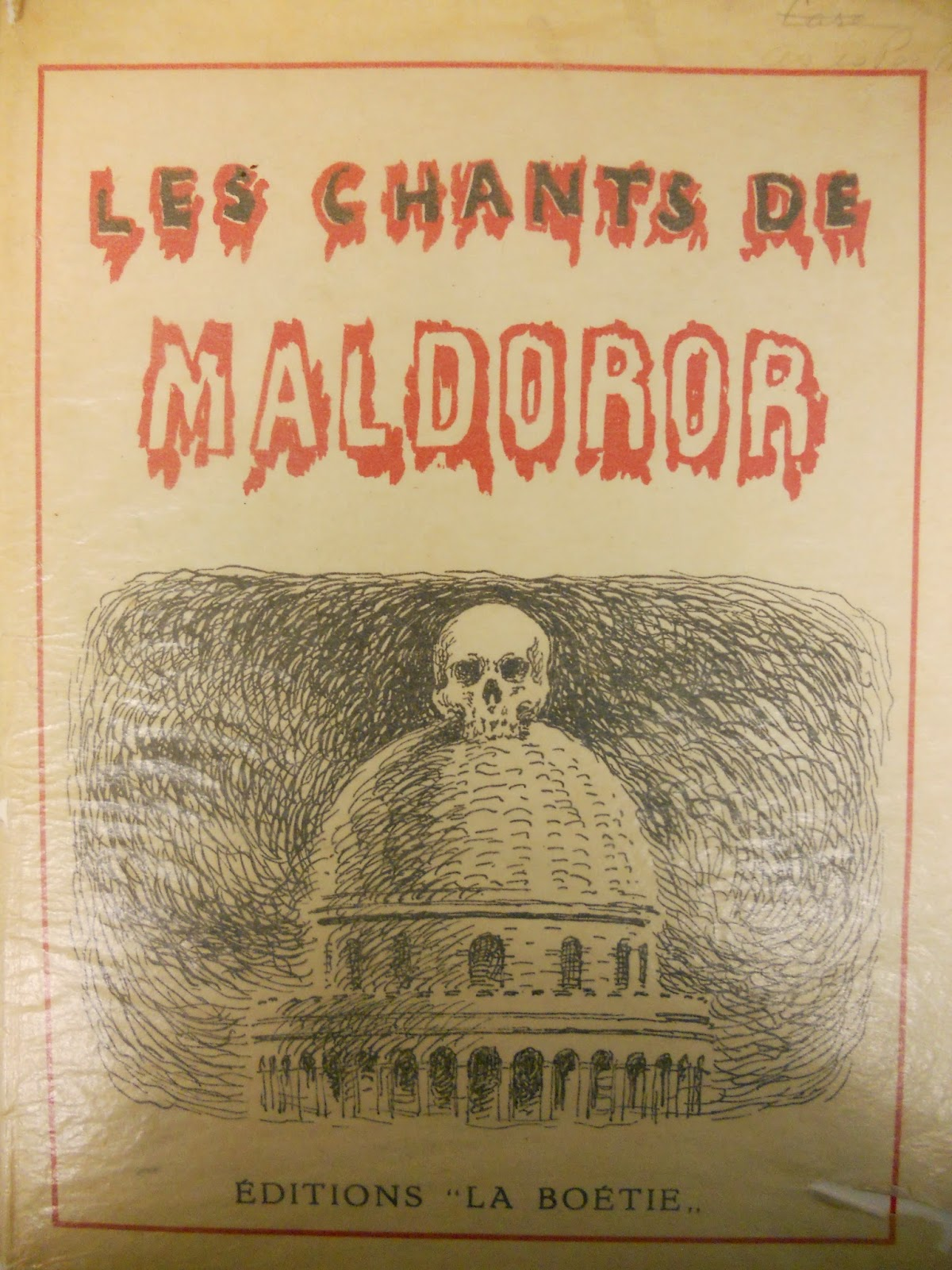 "A cover for ""Les Chants de Maldoror"" with an illustration of a dome topped by a skull."