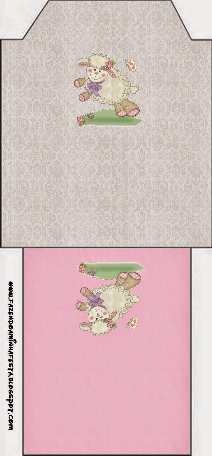Bolsita de Té para imprimir gratis de Ovejita en Fondo Rosa.
