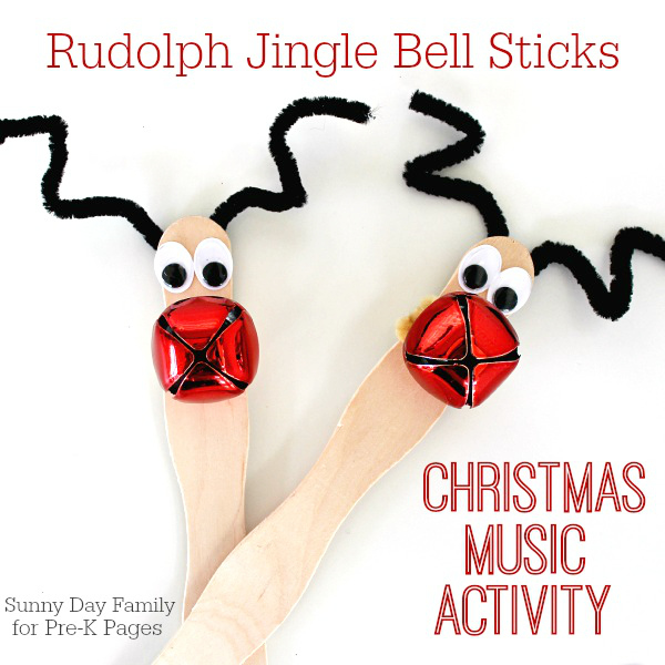 Rudolph Jingle Bell stick craft using craft sticks or popsicle sticks, small jingle bell and pipe cleaners for antlers