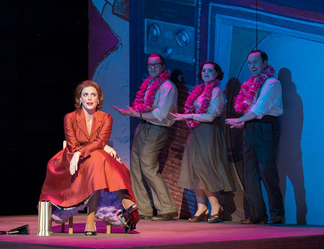 Opera North's production of Bernstein's Trouble in Tahiti, Autumn 2017 Wallis Giunta as Dinah with Nicholas Butterfield, Fflur Wyn and Joseph Shovelton as the Trio (Photo Alastair Muir)